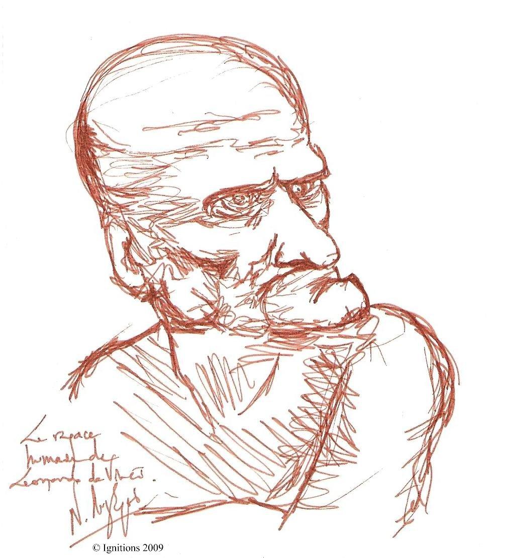 Un rapace humain de Leonardo da Vinci.