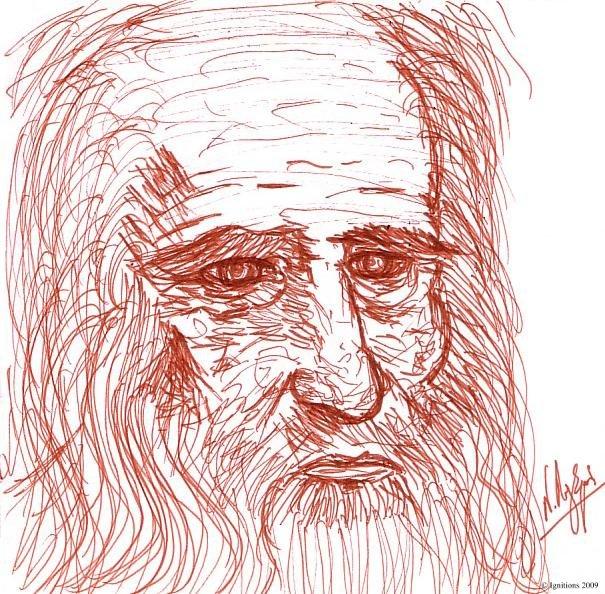Portrait de Leonardo da Vinci,  sur carnet