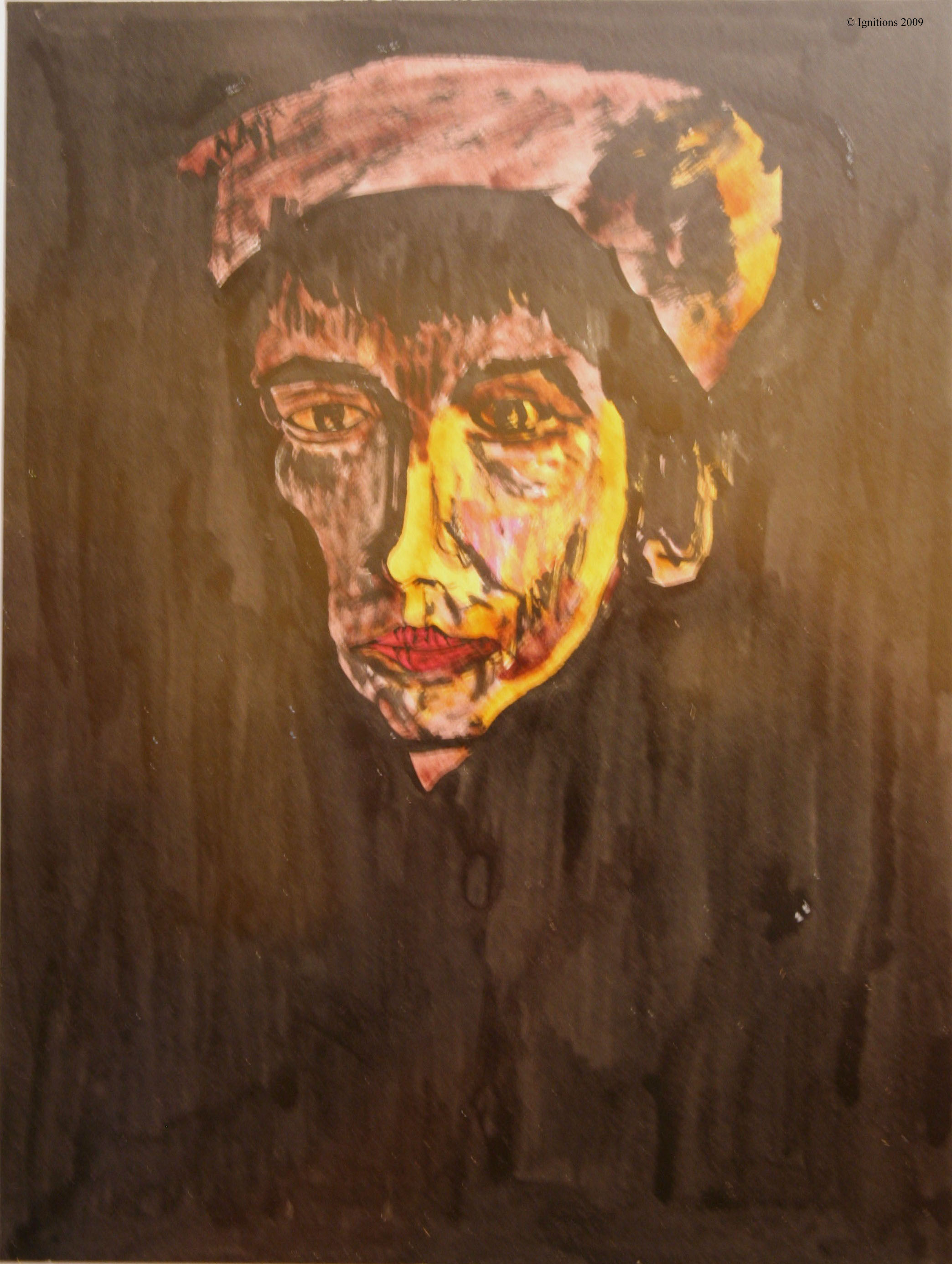 Tête d'une paysanne de Vincent avec coiffe sombre.