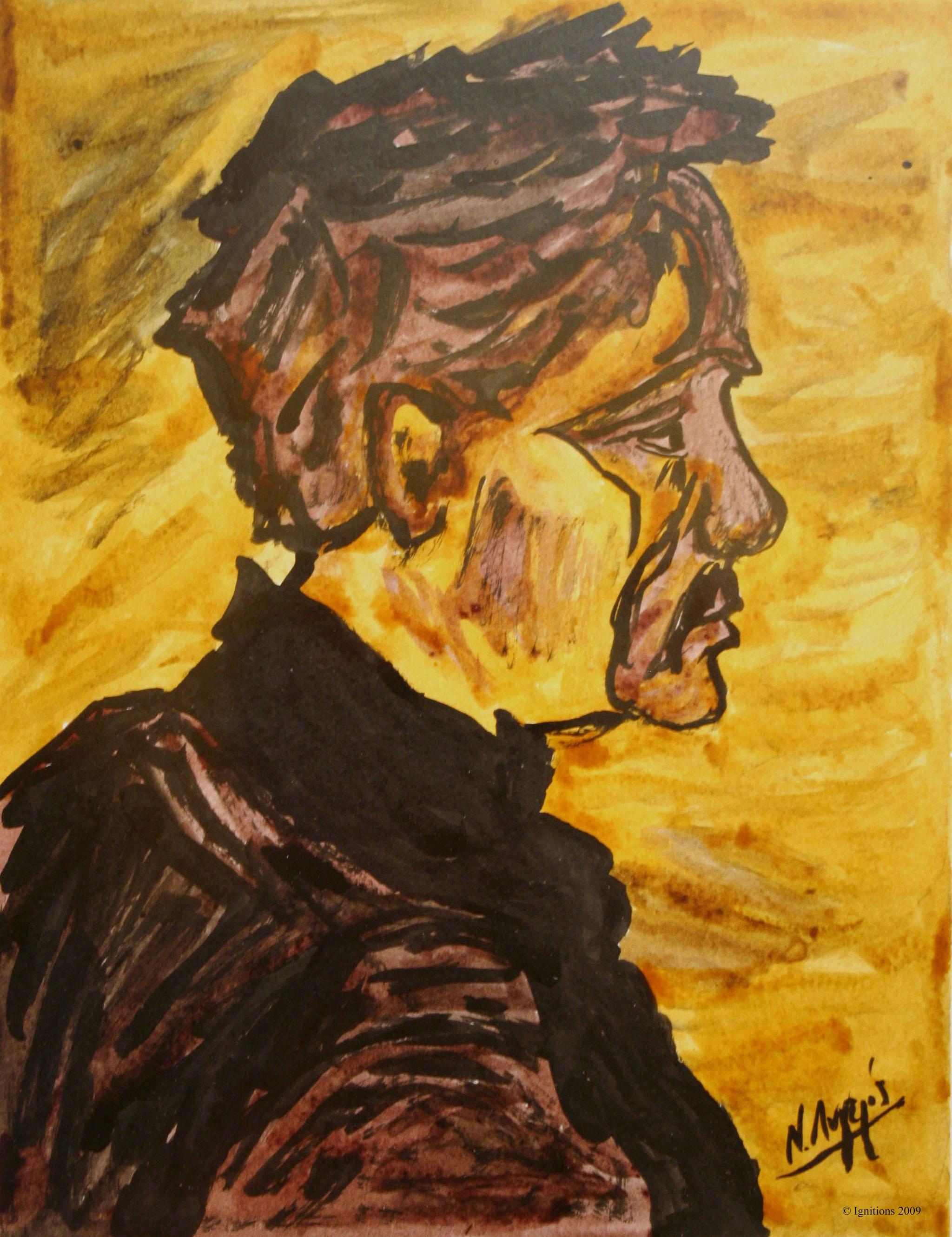 Profil d'une tête de paysan de Vincent.