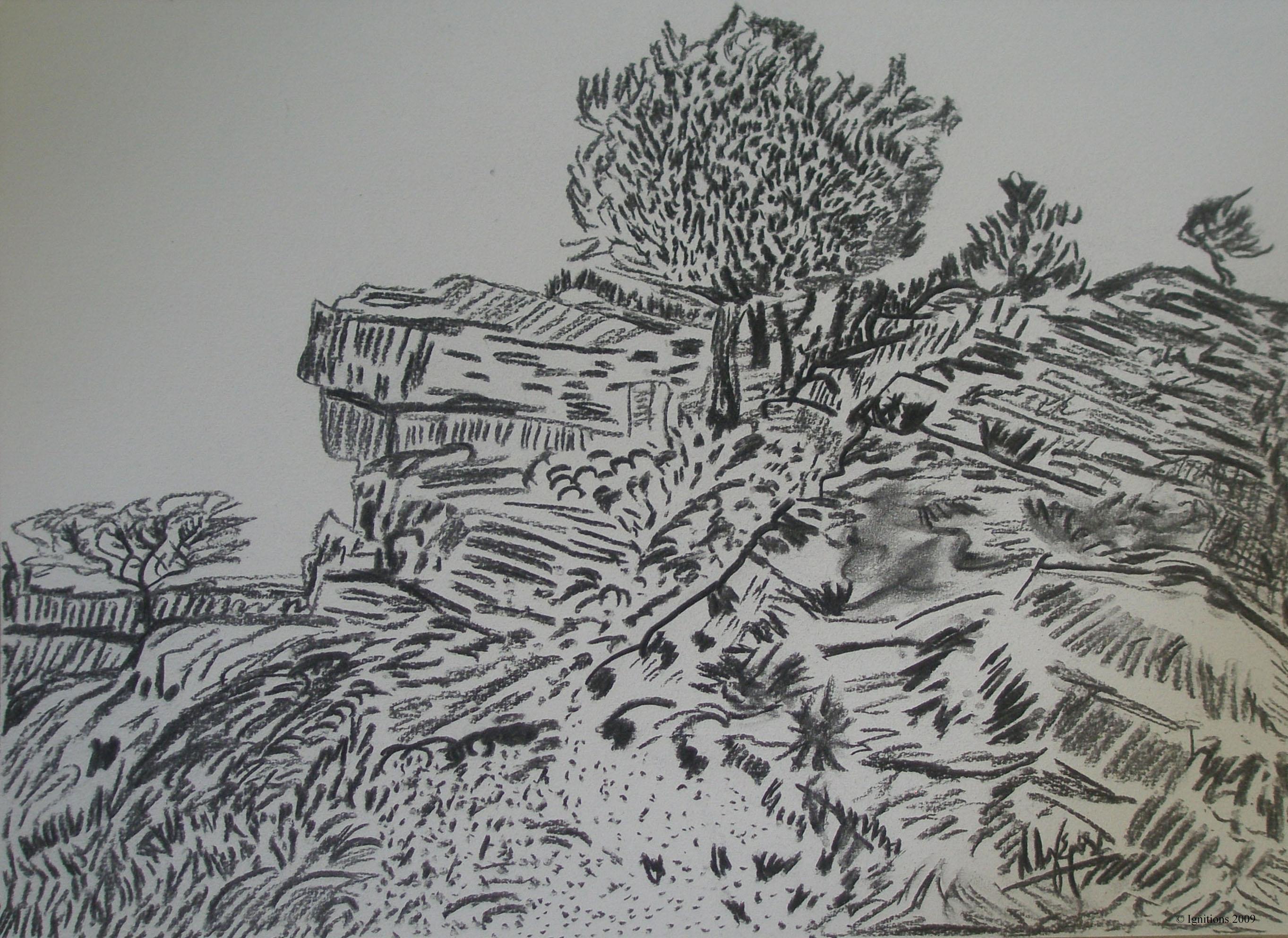 Rochers avec arbres dans le Montmajour de Vincent.