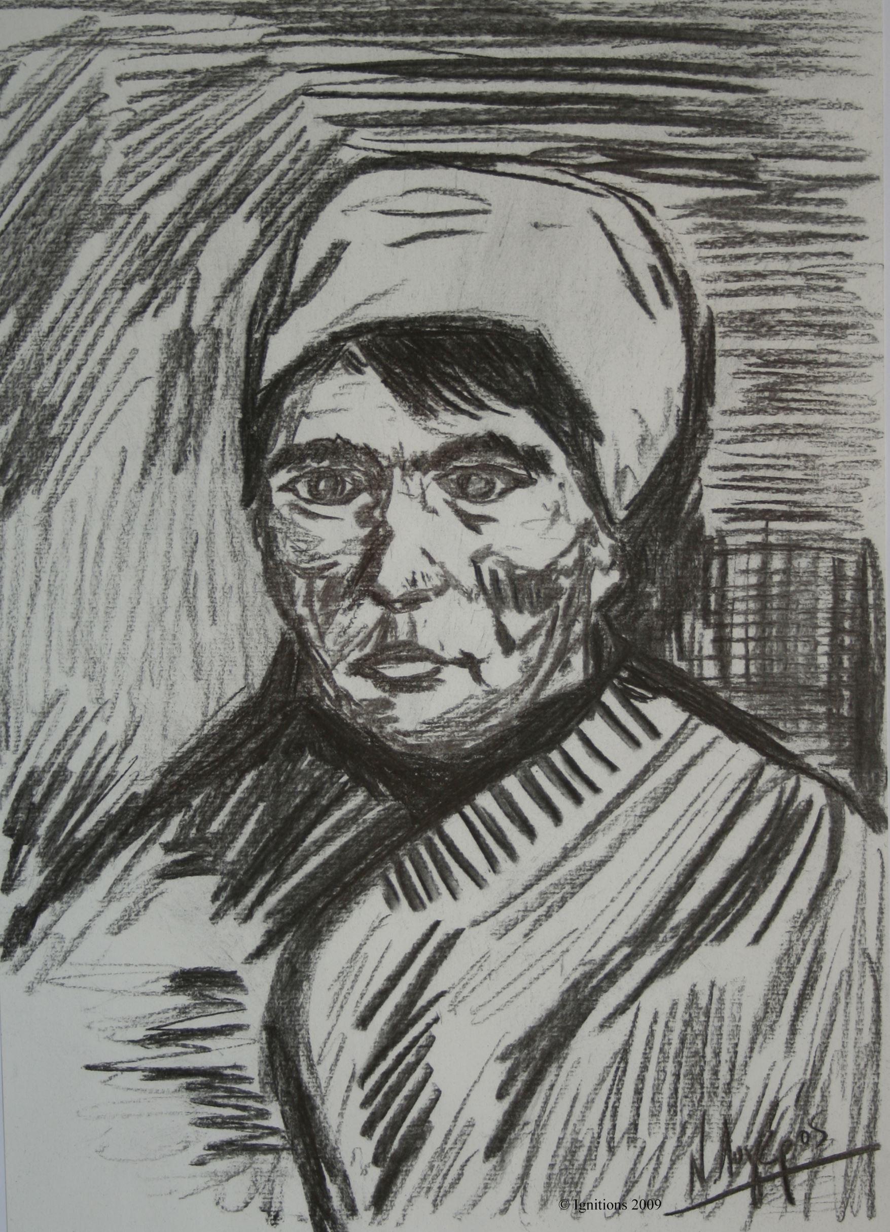 Buste d'une paysanne dans une lettre de Vincent.