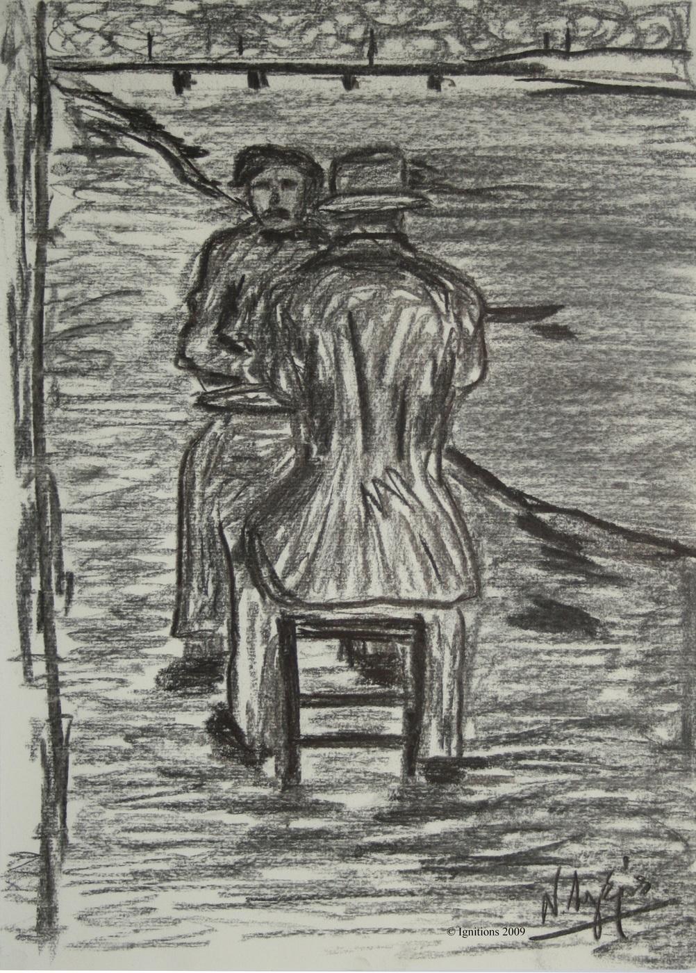 Emile Bernard et Vincent van Gogh sur les bords de Seine.