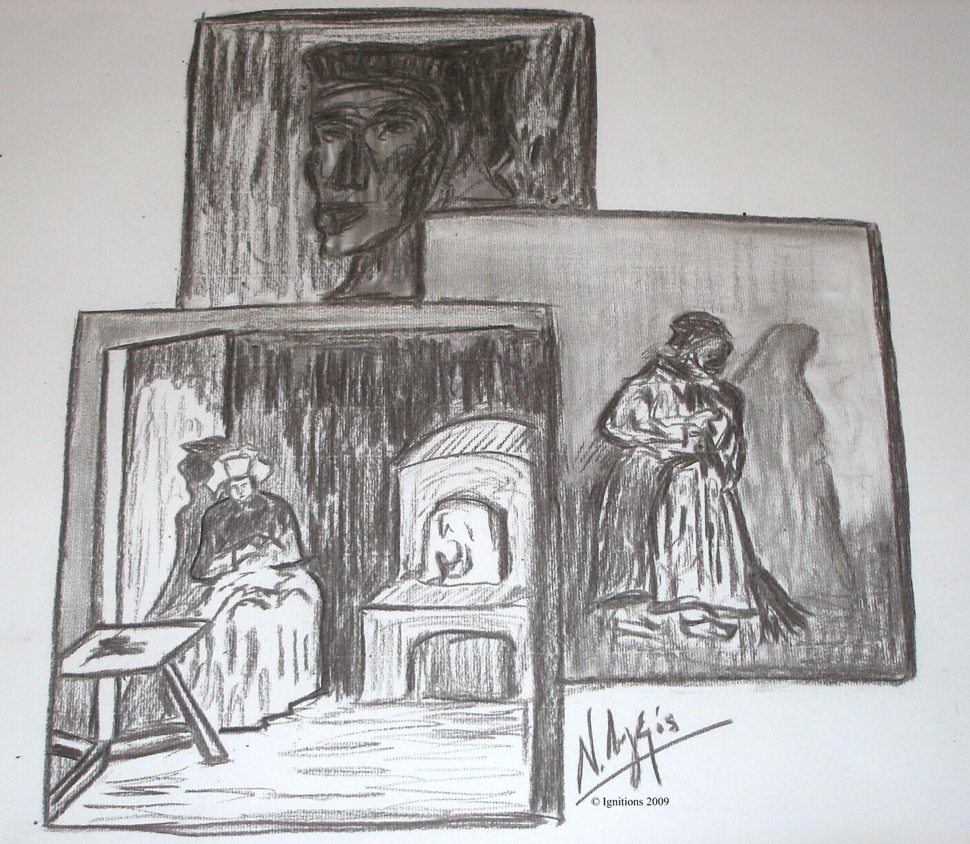 Triple portrait de paysannes de Vincent.