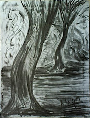 Deux arbres dans le nymphée.