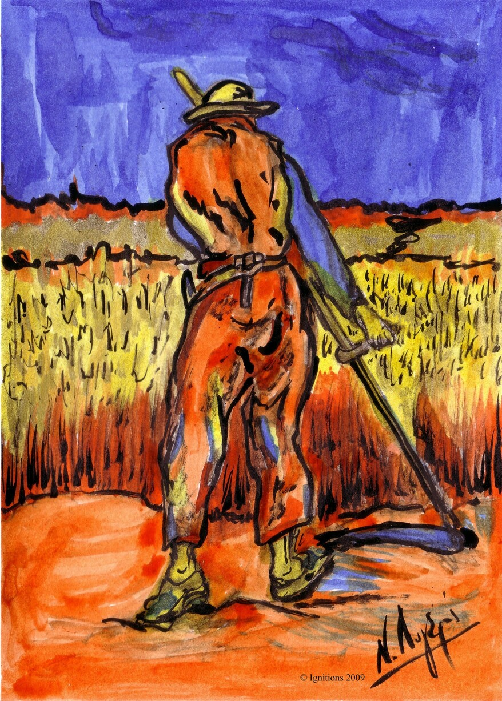Le moissonneur de Vincent d'après Millet.