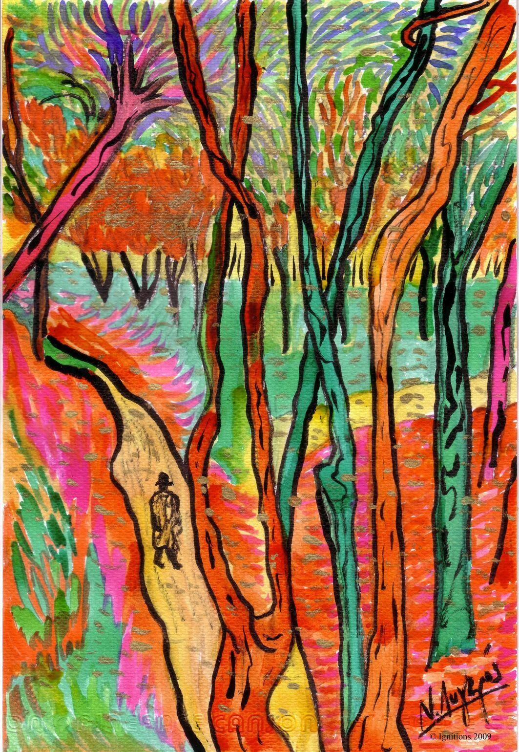 Promeneur de Vincent dans le parc : chute de feuilles.