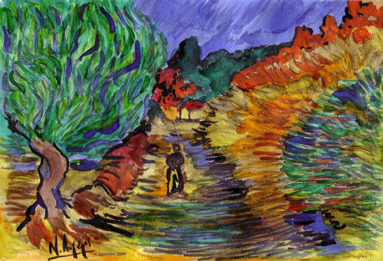 Une route de Vincent à St Rémy.