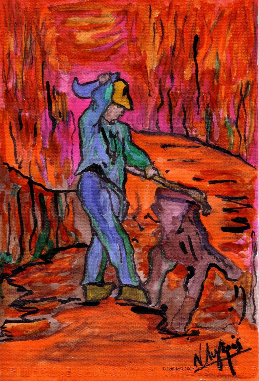 Le Bûcheron de Vincent d'après Millet.