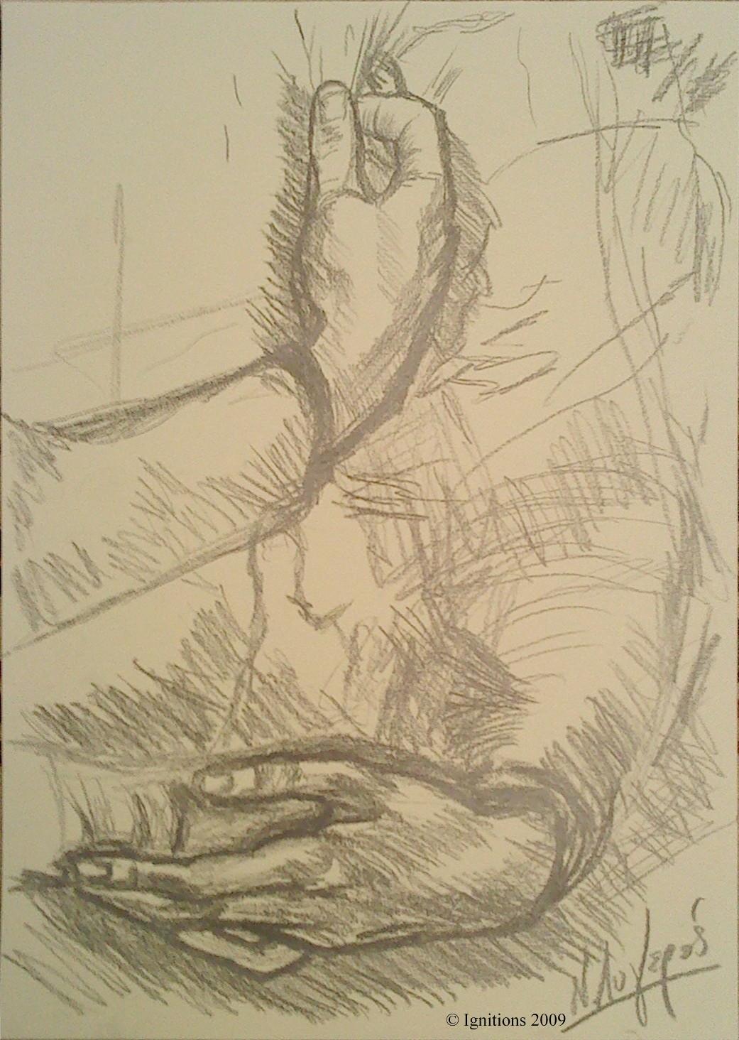 Etude avec des mains et des bras de Leonardo da Vinci.