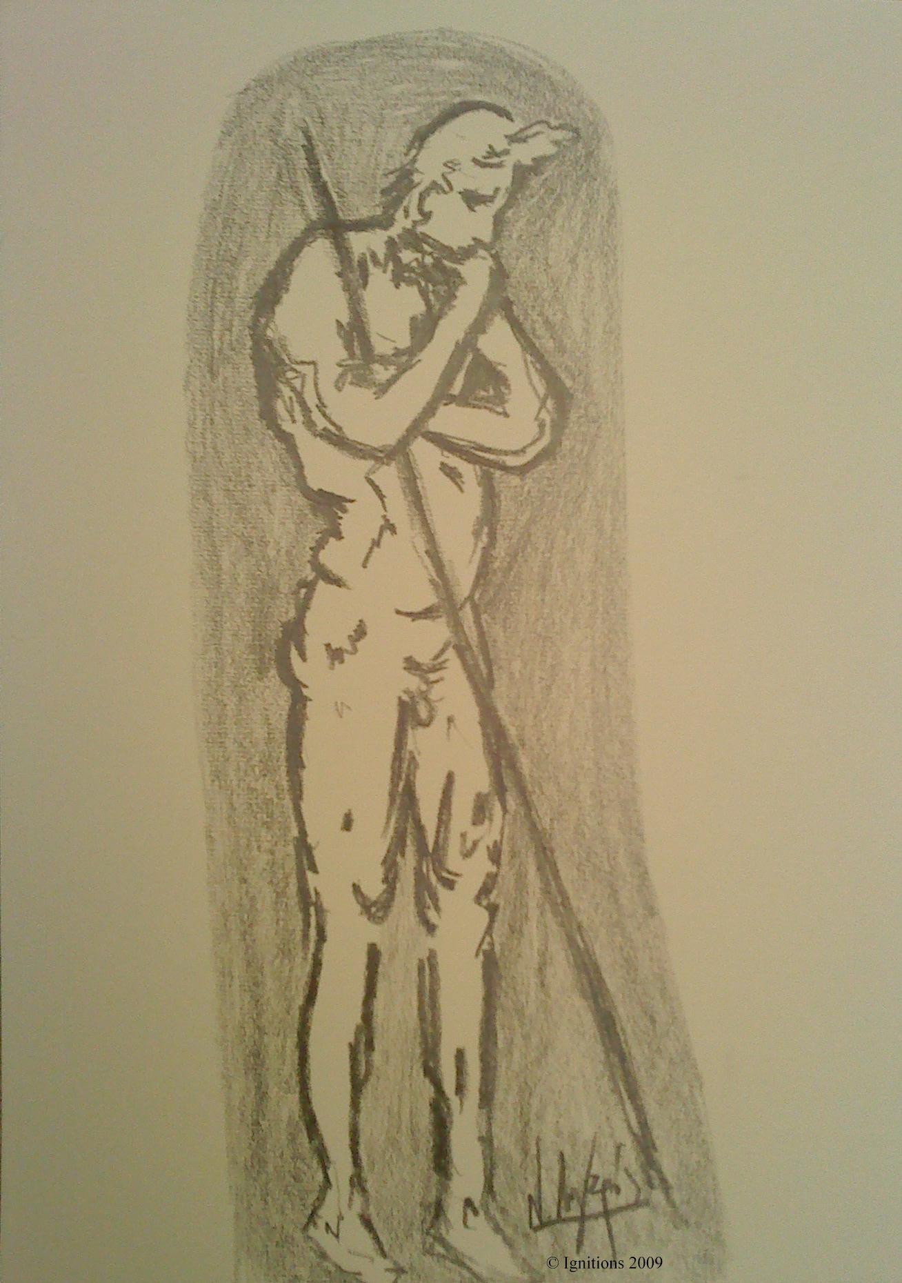 Détail d'une figure de Leonardo da Vinci pour l'adoration des Mages.