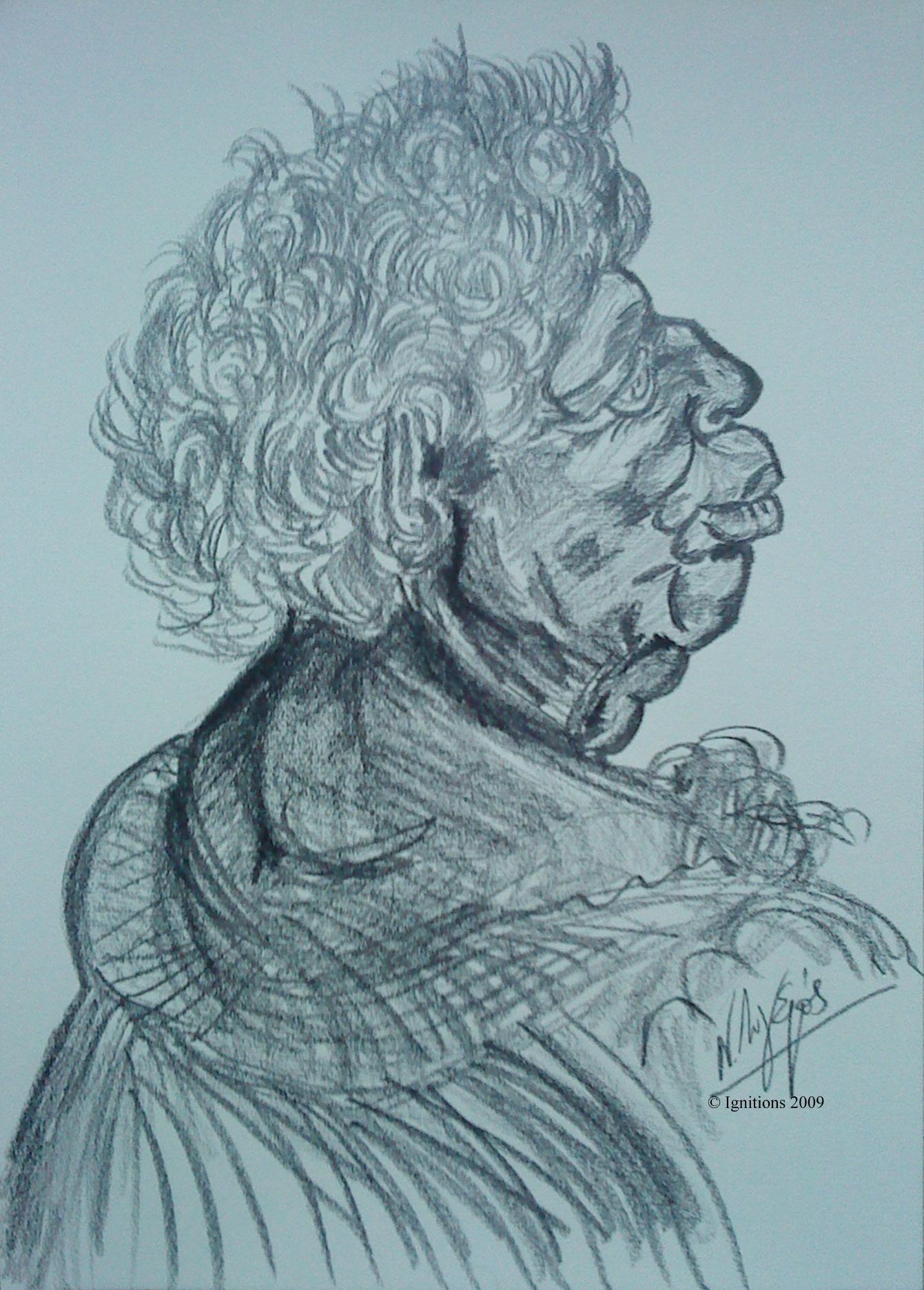 Etude d'un portrait d'homme grotesque de Leonardo da Vinci.