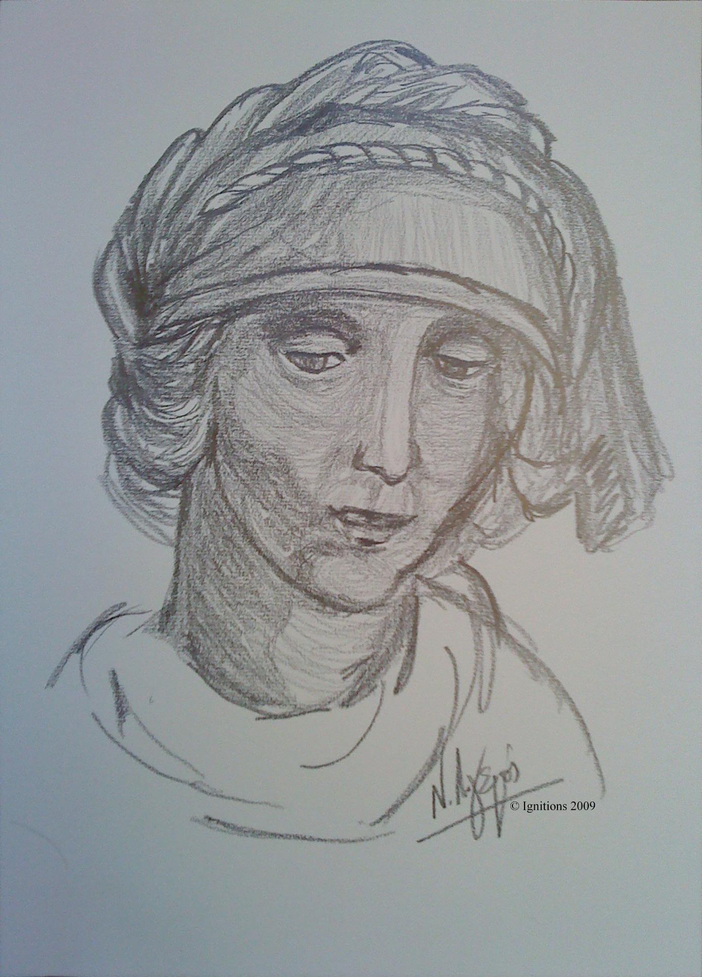 Etude pour la tête de sainte Anne de Leonardo da Vinci.