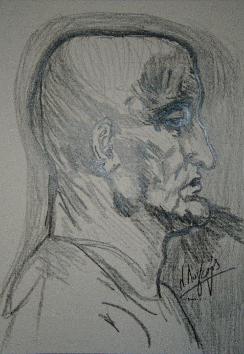 Etude de profil d'un homme chauve de Leonardo da Vinci.
