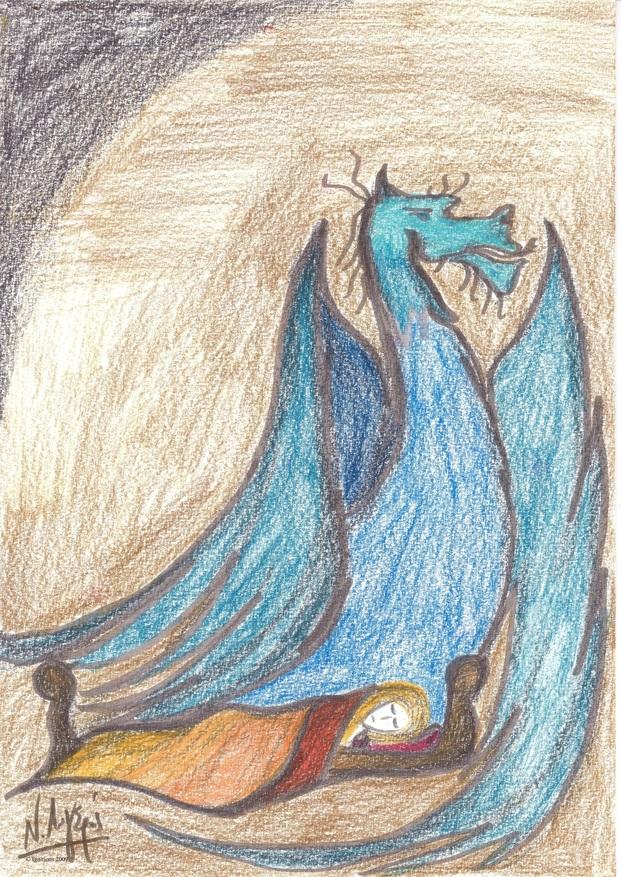 Illustration pour Dragon et Lumineuse endormie.