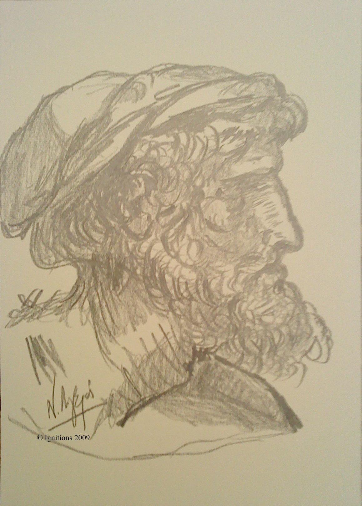 Tête d'un homme de profil coiffé d'un bonnet de Leonardo da Vinci.