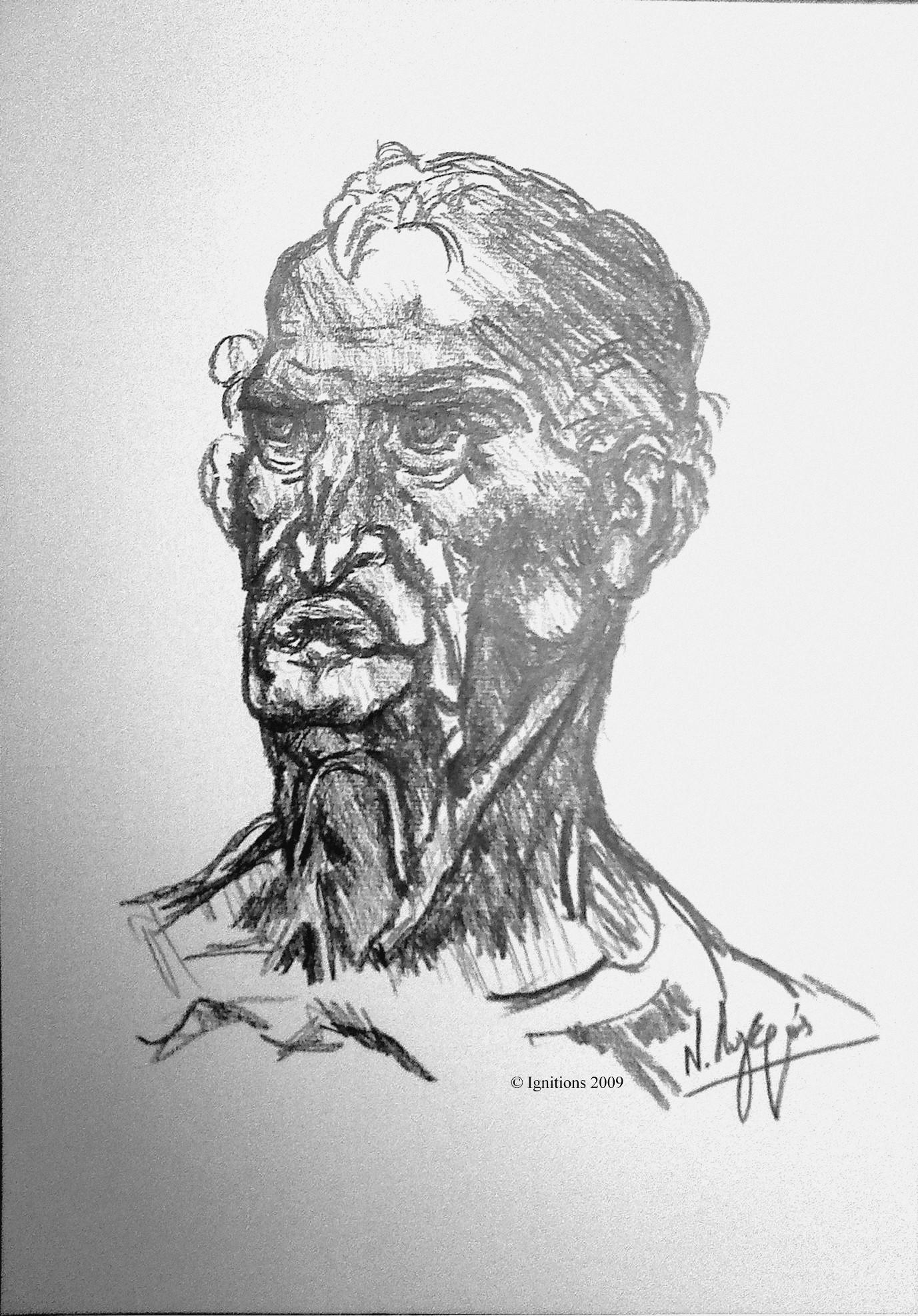 Etude de caractère d'un homme âgé de Leonardo da Vinci.