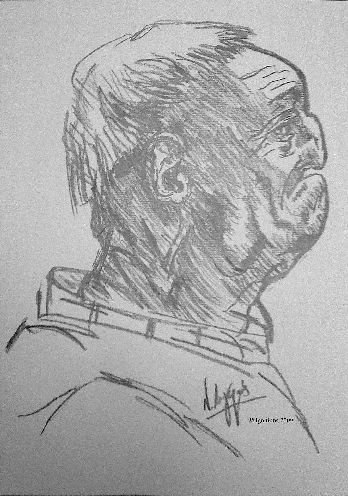 Etude de profil dune tête d'homme grotesque de Leonardo da Vinci.