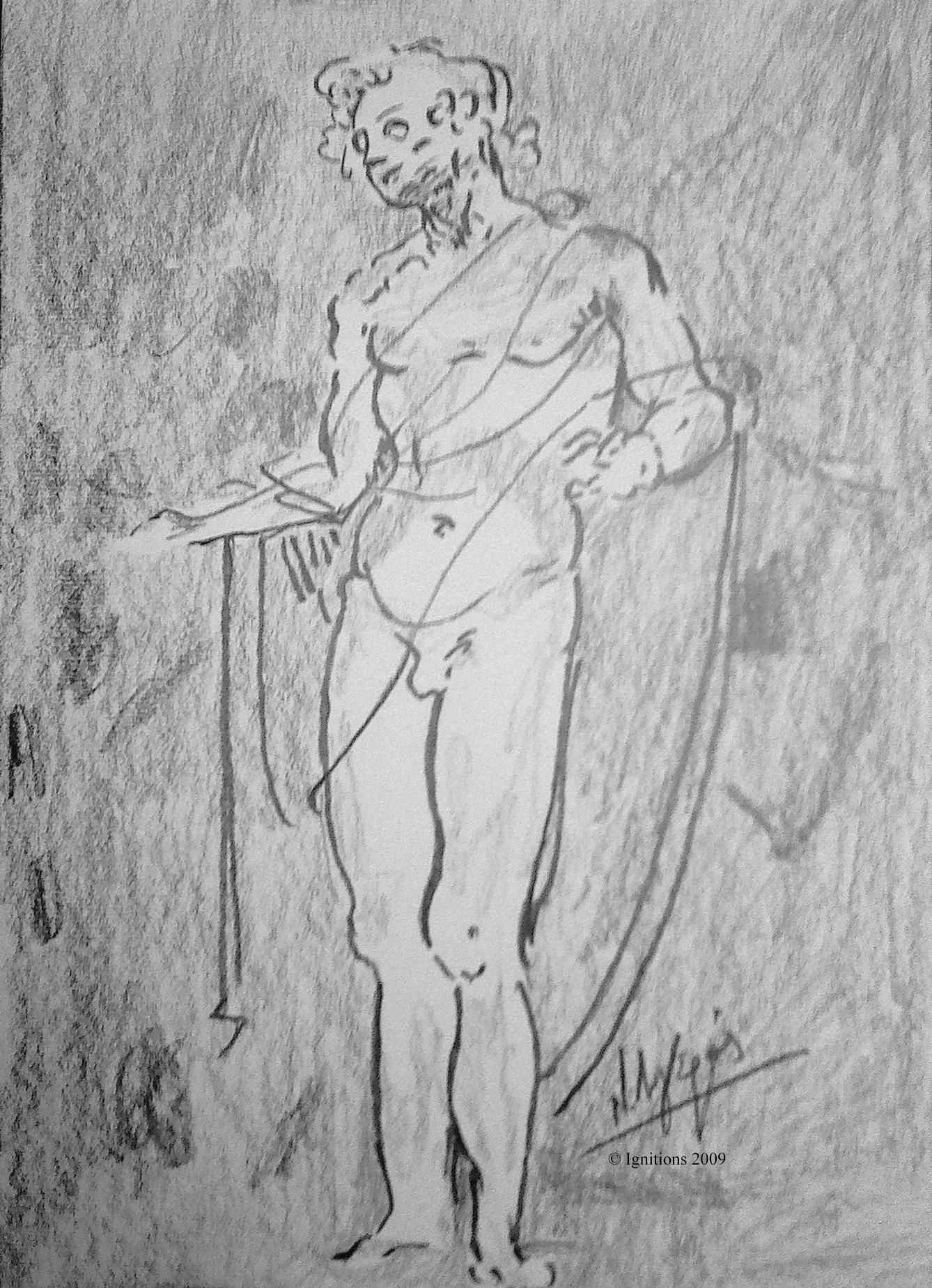Etude de figure pour l'Adoration des Mages de Leonardo da Vinci.