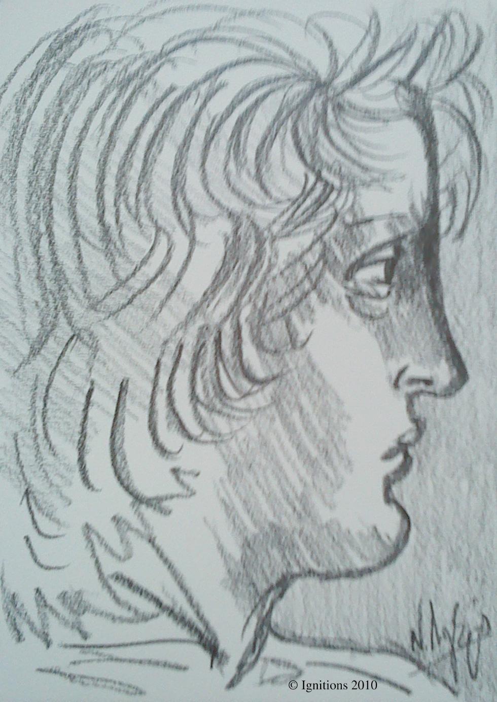 Tête de jeune homme de Leonardo da Vinci.
