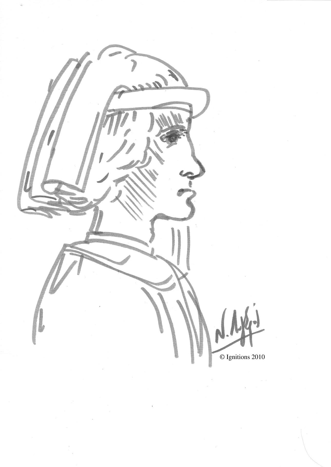 Etude d'un homme coiffé de Leonardo da Vinci.