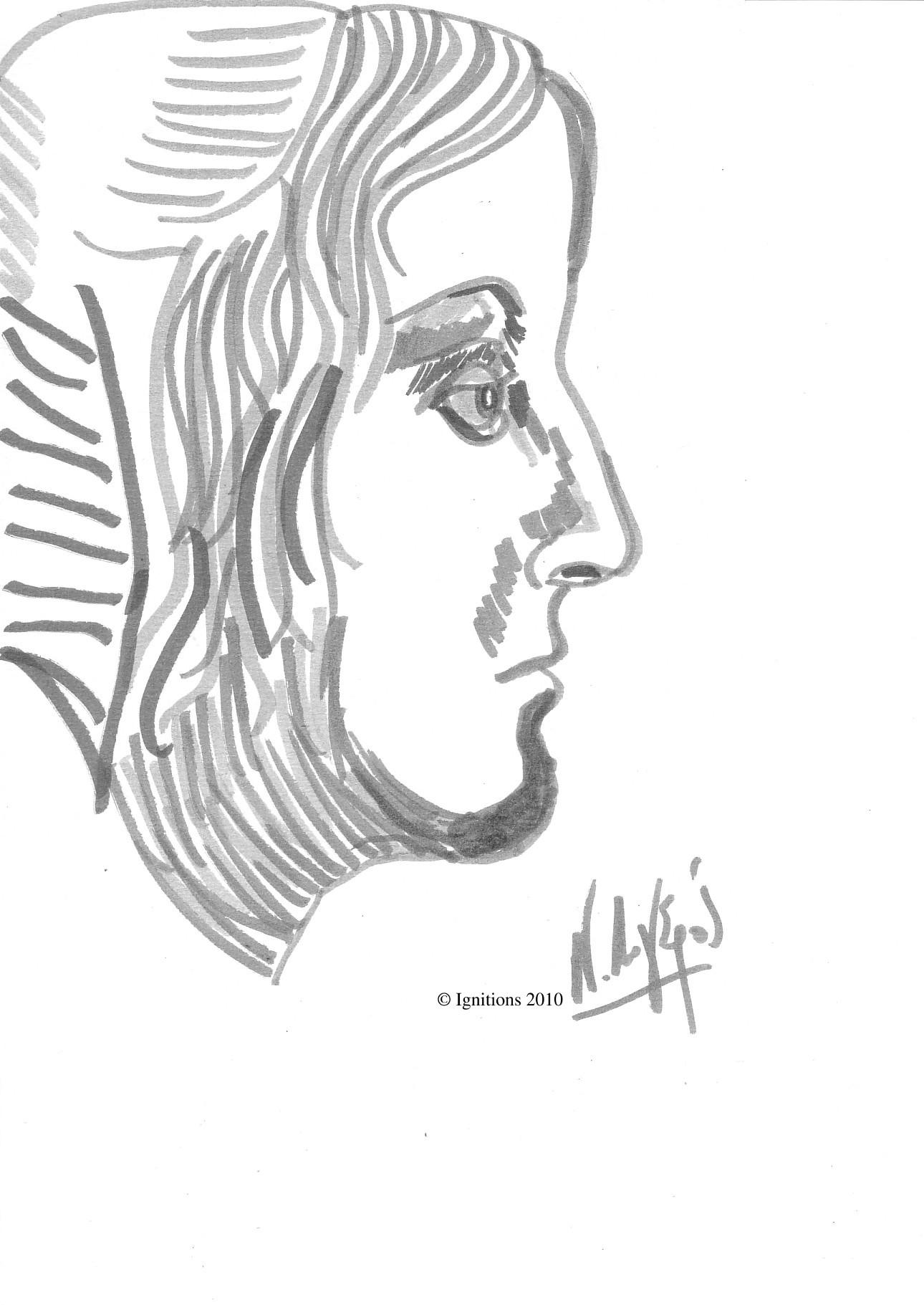 Etude du profil d'une jeune femme de Leonardo da Vinci.