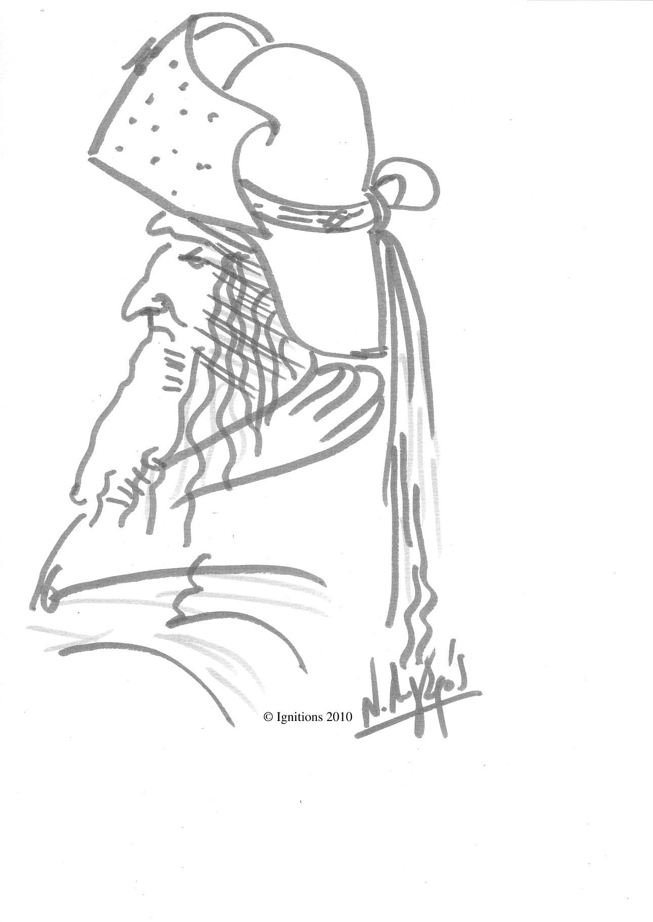 Etude de vieillard barbu de Leonardo da Vinci.