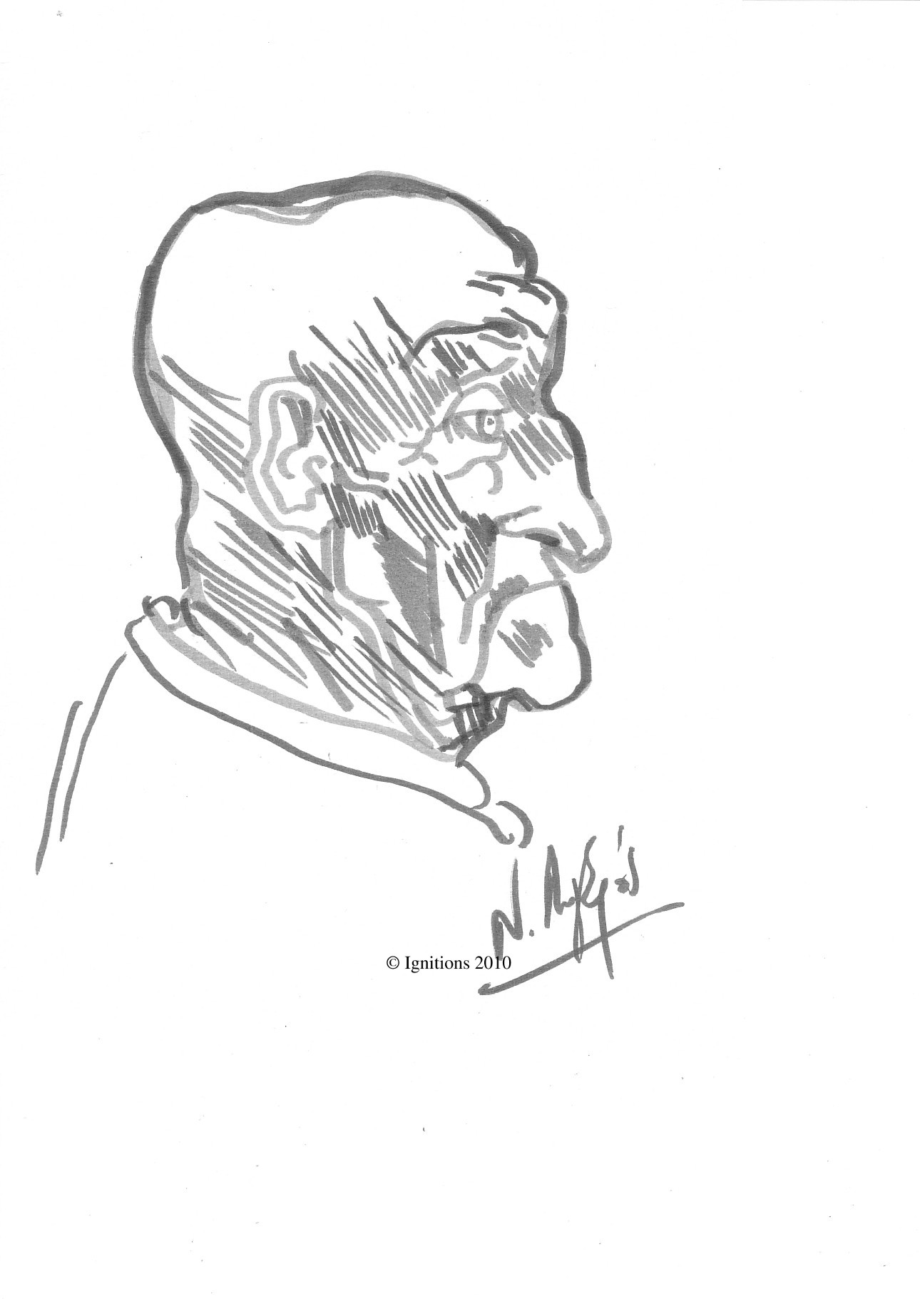 Etude profil d'un homme chauve de Leonardo da Vinci.