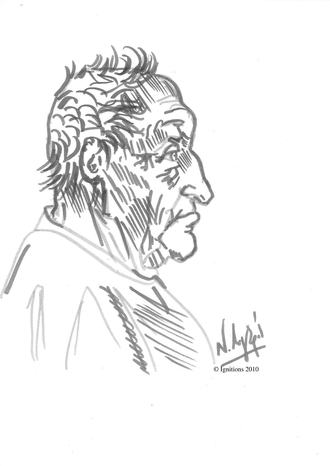 Etude de profil d'un homme âgé de Leonardo da Vinci.