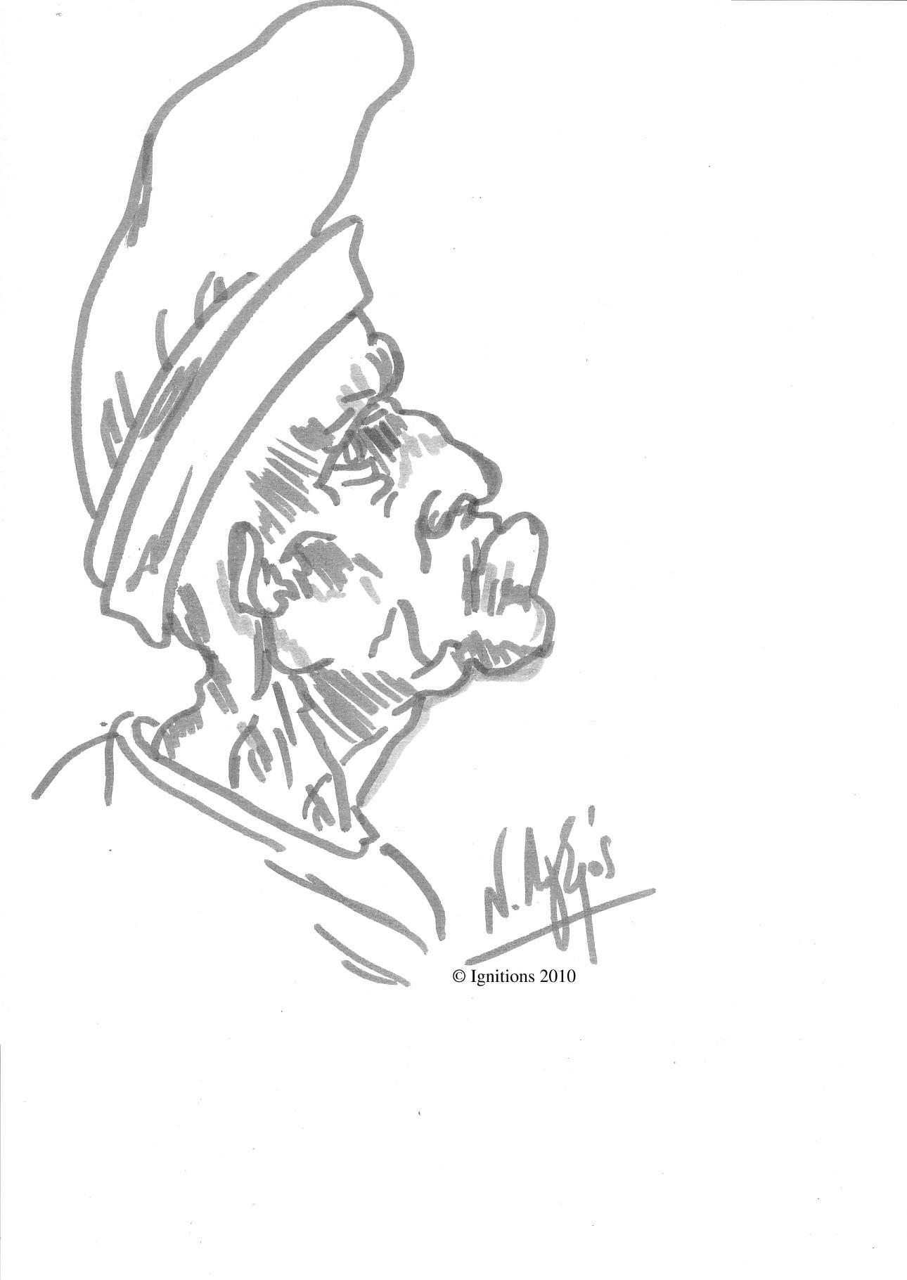 Etude grotesque d'un homme âgé coiffé d'un bonnet de Leonardo da Vinci.