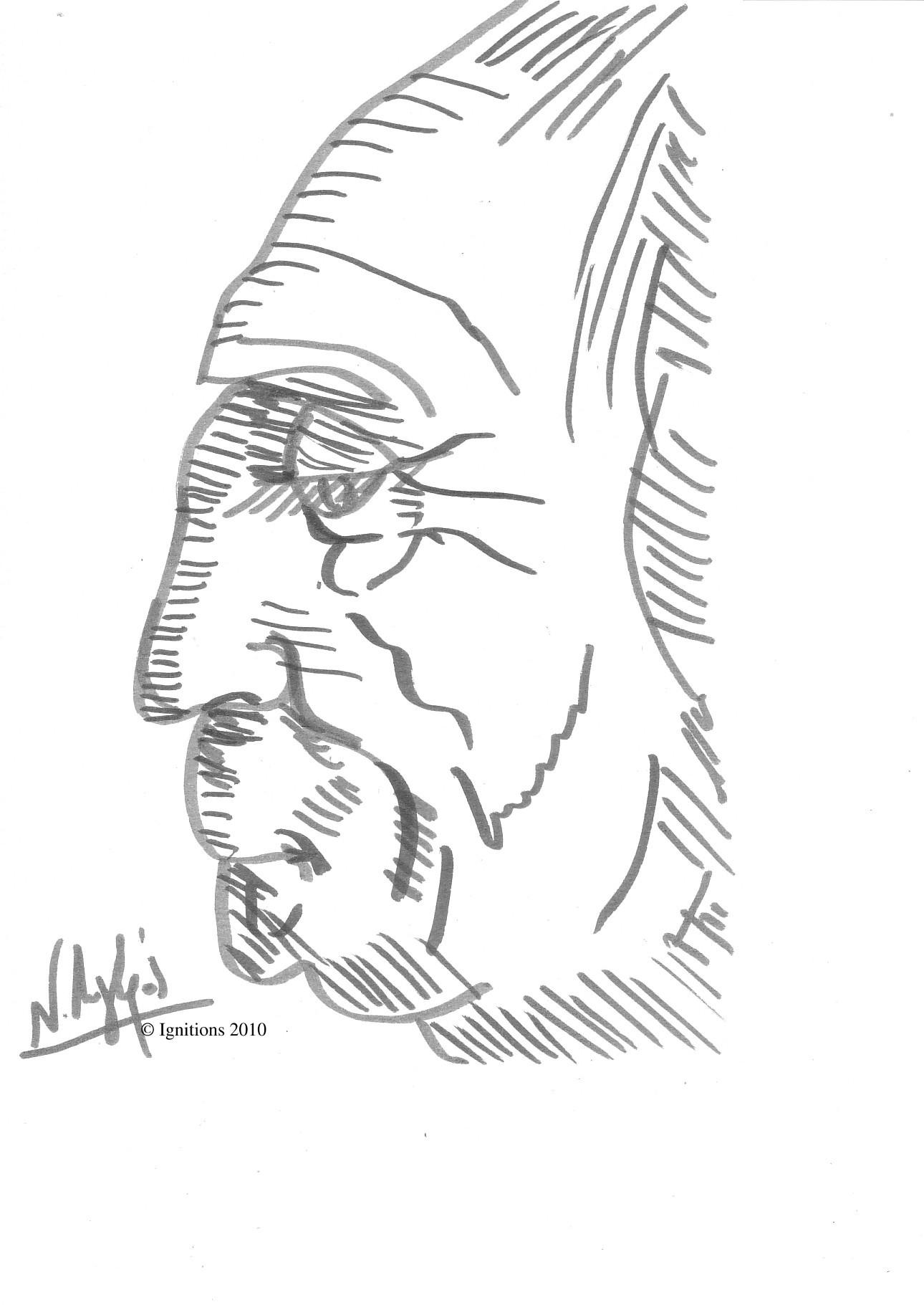 Etude de portrait grotesque de Leonardo da Vinci.