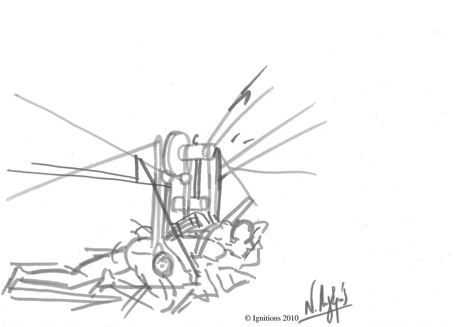 Etude de la machine volante de Leonardo da Vinci.