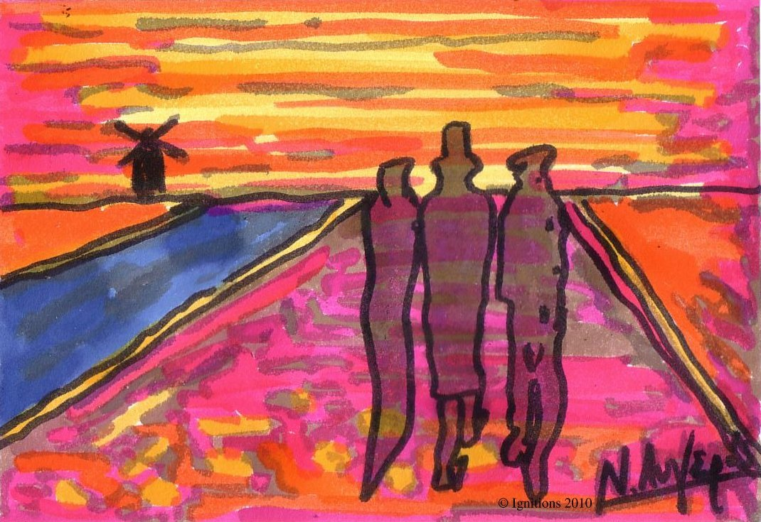 Trois personnes au bord du canal avec moulin de Vincent.
