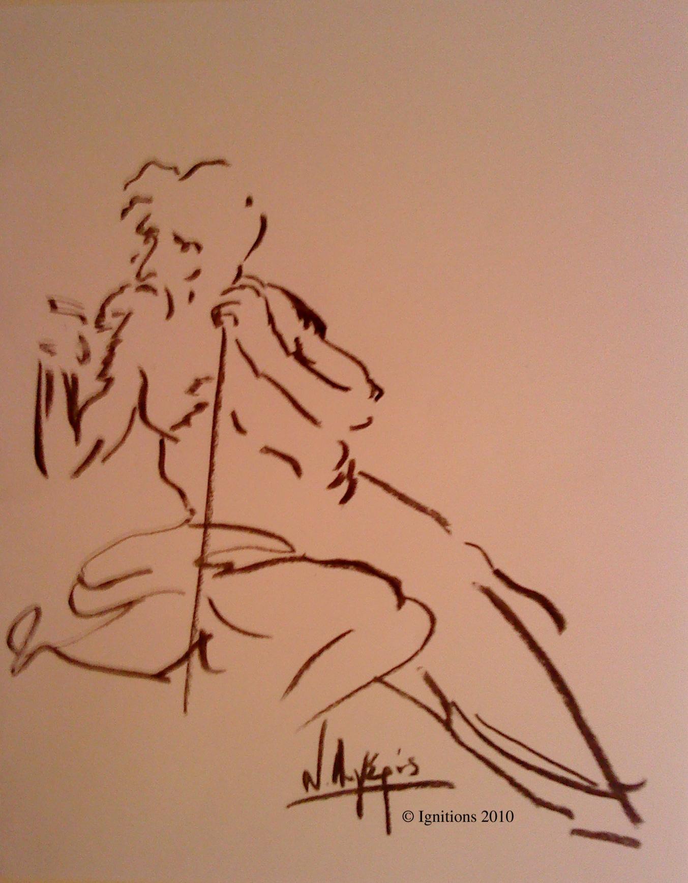 Etude d'une figure de Leonardo da Vinci.