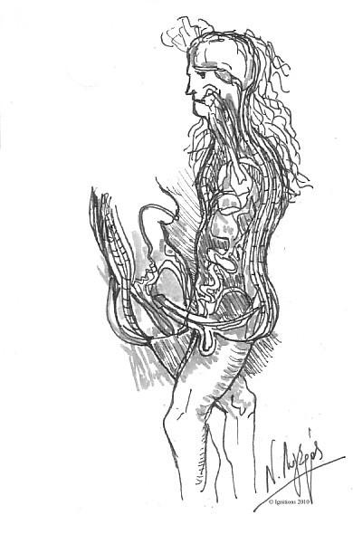 Coupe verticale du coït d'après Leonardo da Vinci.