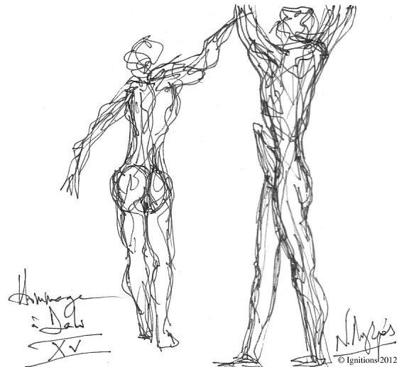 Hommage à Dali XV (Feutre sur cahier Daler Rowney)