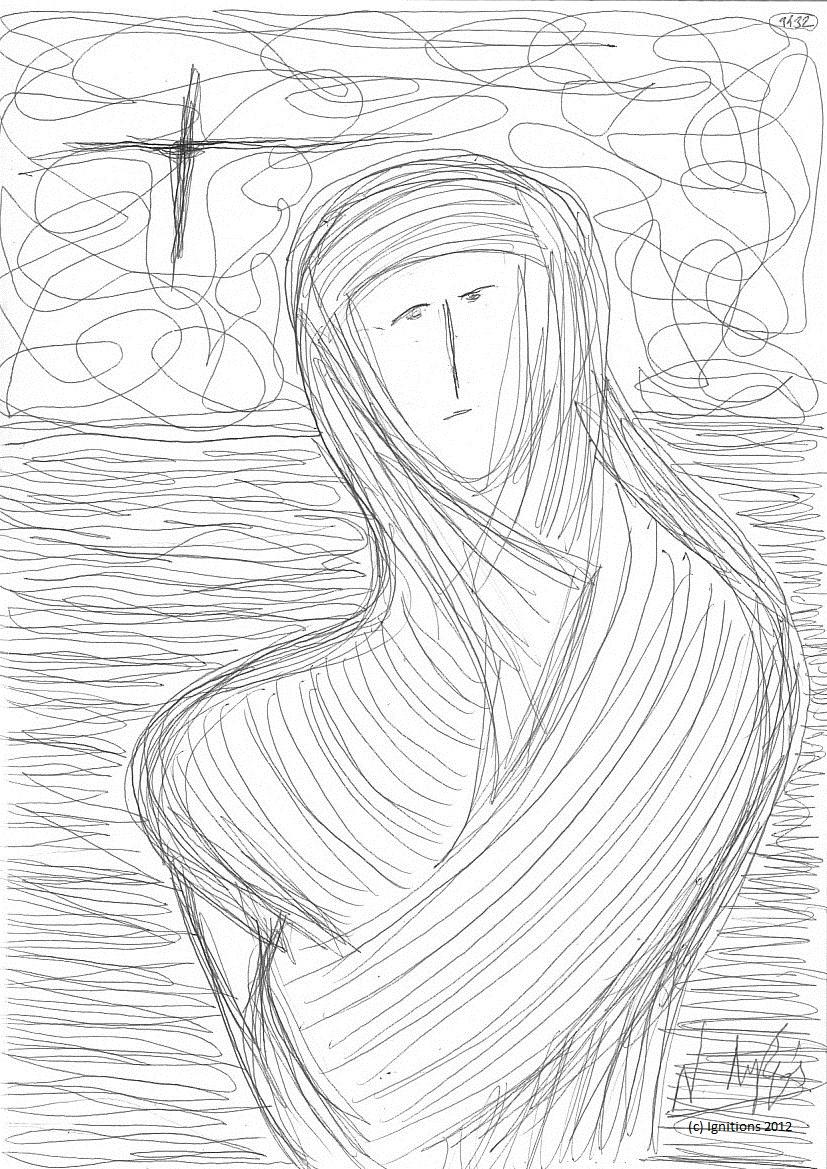 Pèlerin en Terre Sainte. (Feutre noir sur Cahier A4, 21x29.7)