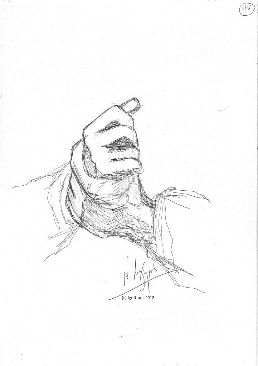 Les mains de Ludwig Wittgenstein. (Feutre noir sur Cahier A4, 21x29.7)