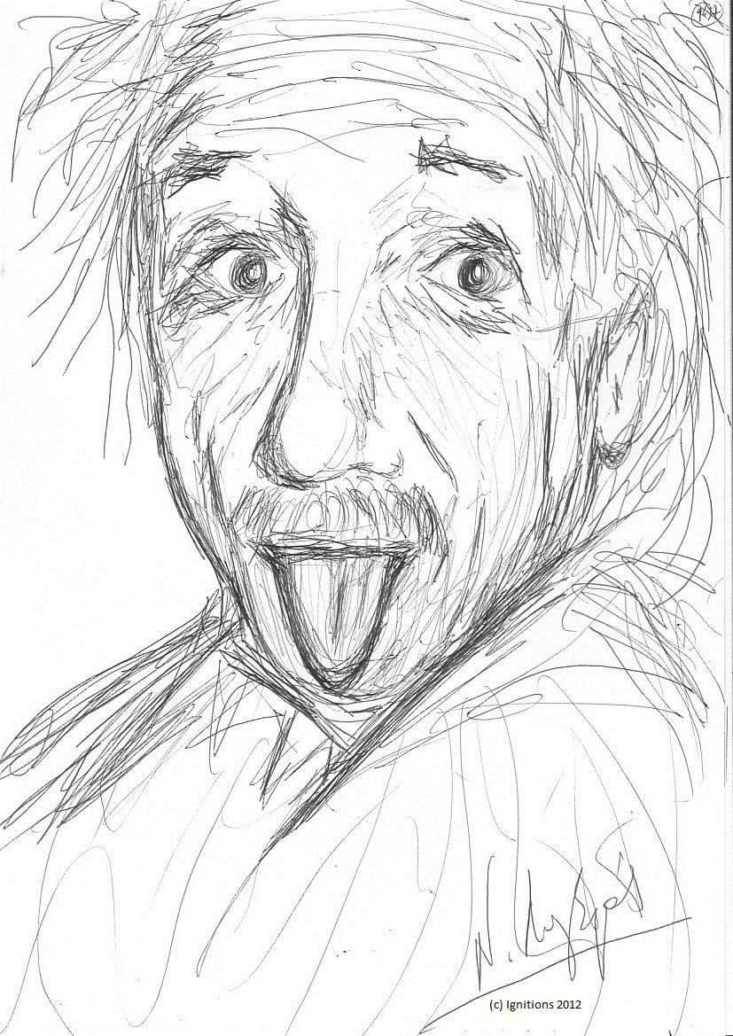 La langue d'Albert Einstein. (Feutre noir sur Cahier A4, 21x29.7)