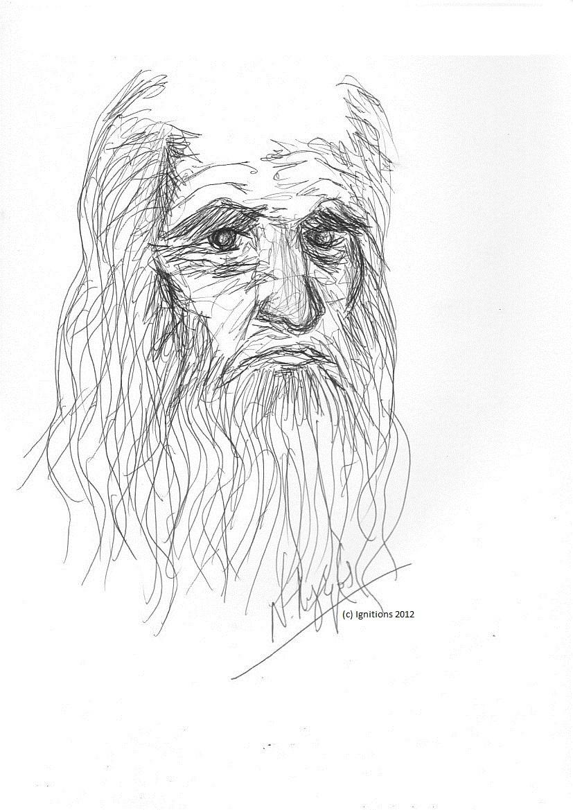 Le regard de Leonardo da Vinci. (Feutre noir sur Cahier A4, 21x29.7)