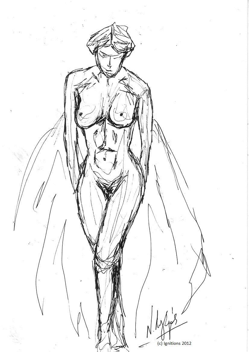 Femme debout. (Feutre sur papier Schoeller Durex A4).