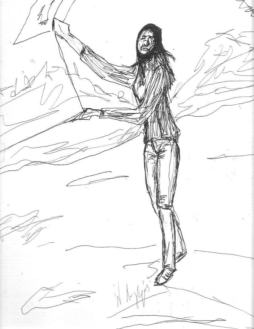 Jeune fille au cerf-volant. (Feutre sur papier Ingres 29.7x42)