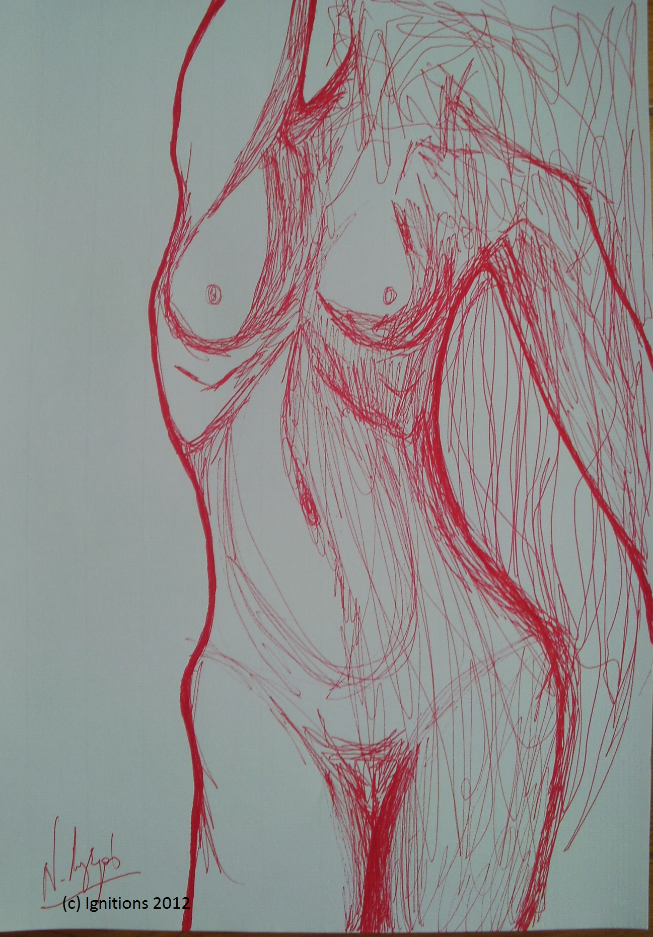 Le buste de la femme. (Feutre rouge sur papier Ingres 29.7x42). Perfection 13 7 7/2012.