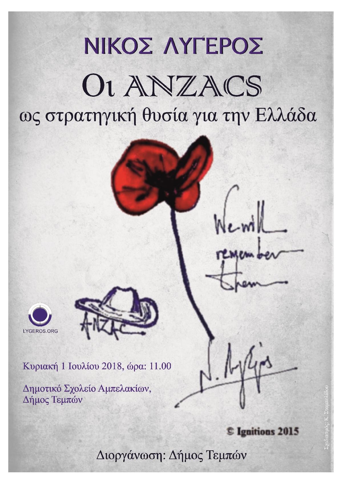 Διάλεξη: Οι ANZACS ως στρατηγική θυσία για την Ελλάδα